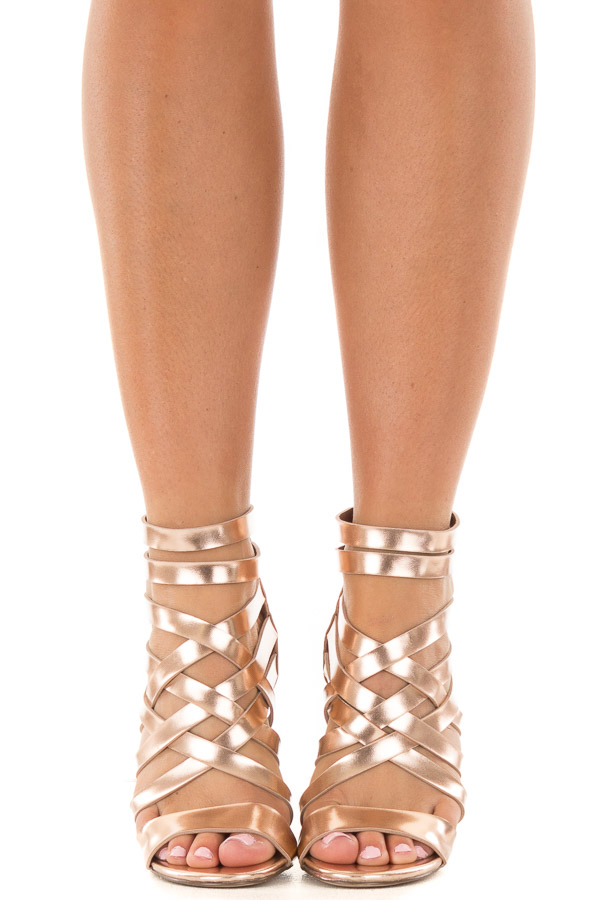 fa7c36dd8bf9 Rose Gold Metallic Leatherette Open Toe Strappy Block Heel front view