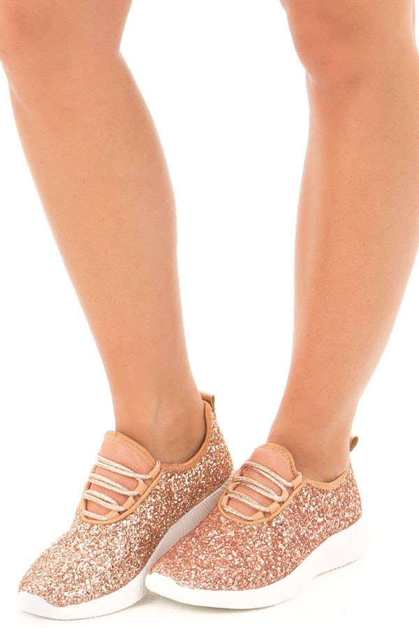 5248925293670 ... Rose Gold Glitter Lace Up Sneakers front side view ...