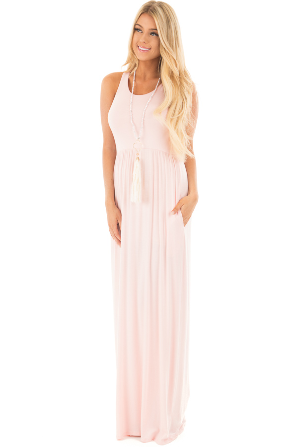 7a8c9f414a4d ... Pastel Pink Jersey Racerback Tank Maxi Dress front full body ...
