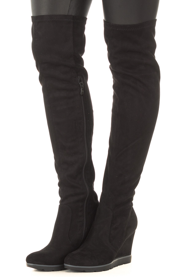 8b3519fb2e3 ... Black Faux Suede Over the Knee Wedged Boot front side view ...
