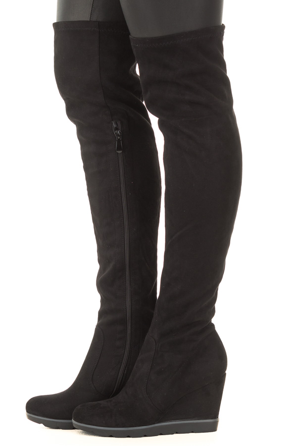c2d6c397fa1 Black Faux Suede Over the Knee Wedged Boot side view