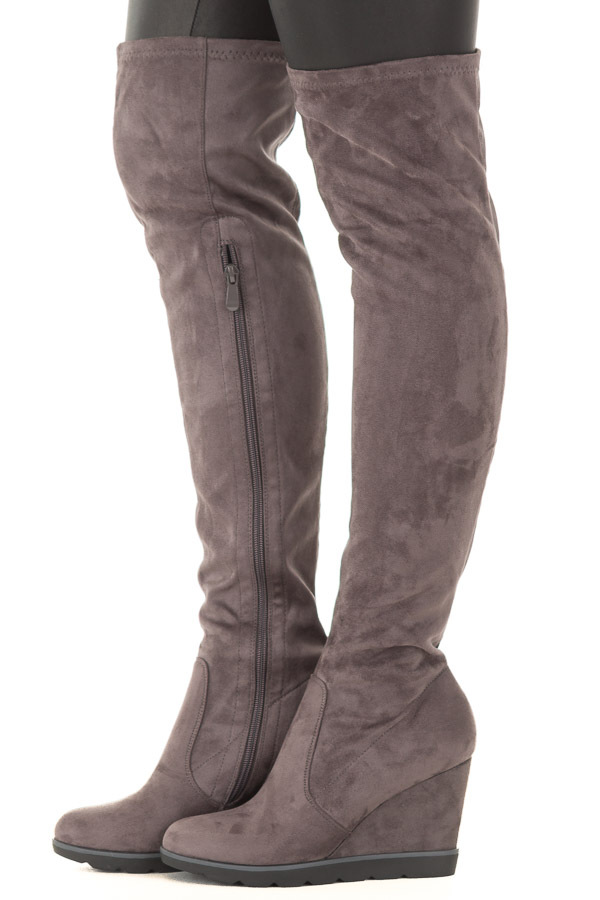 3bf89774a5 Stone Grey Faux Suede Over the Knee Wedged Boots | Lime Lush