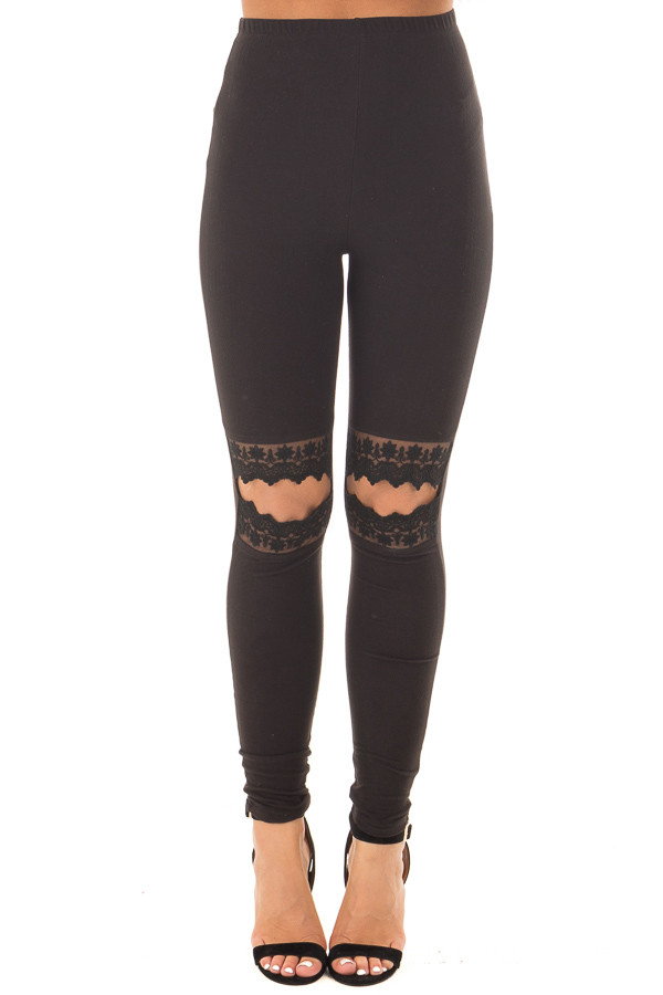 Black Soft Leggings with Lace Cut Out Details front view