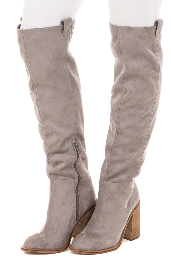 657afe1b4b550 Grey Faux Suede Tall High Heeled Boot - Lime Lush Boutique