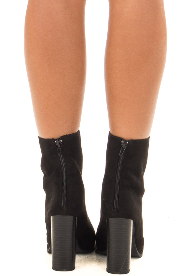Black Faux Suede High Heeled Bootie back view