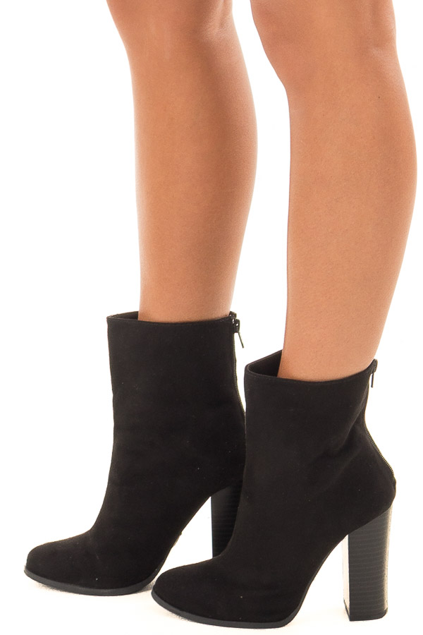 Black Faux Suede High Heeled Bootie side view