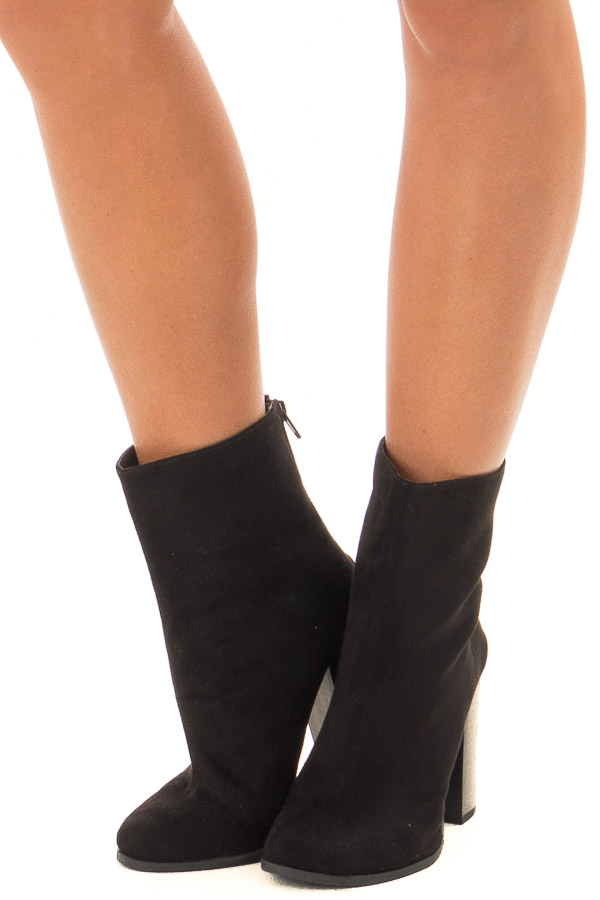 Black Faux Suede High Heeled Bootie front view