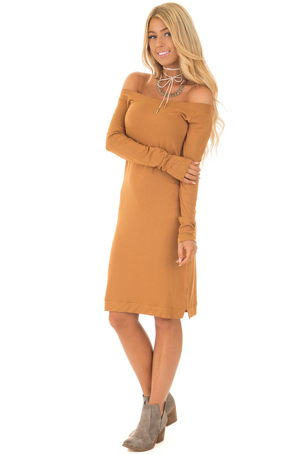 2a54a985a77e ... Mustard Off The Shoulder Long Sleeve Dress front full body ...