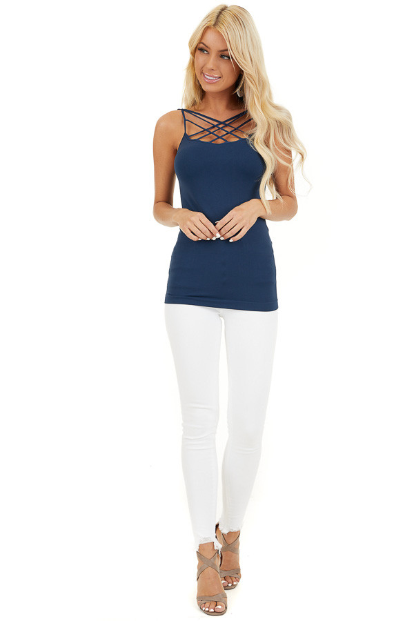 Denim Blue Criss Cross Strappy Camisole front full body