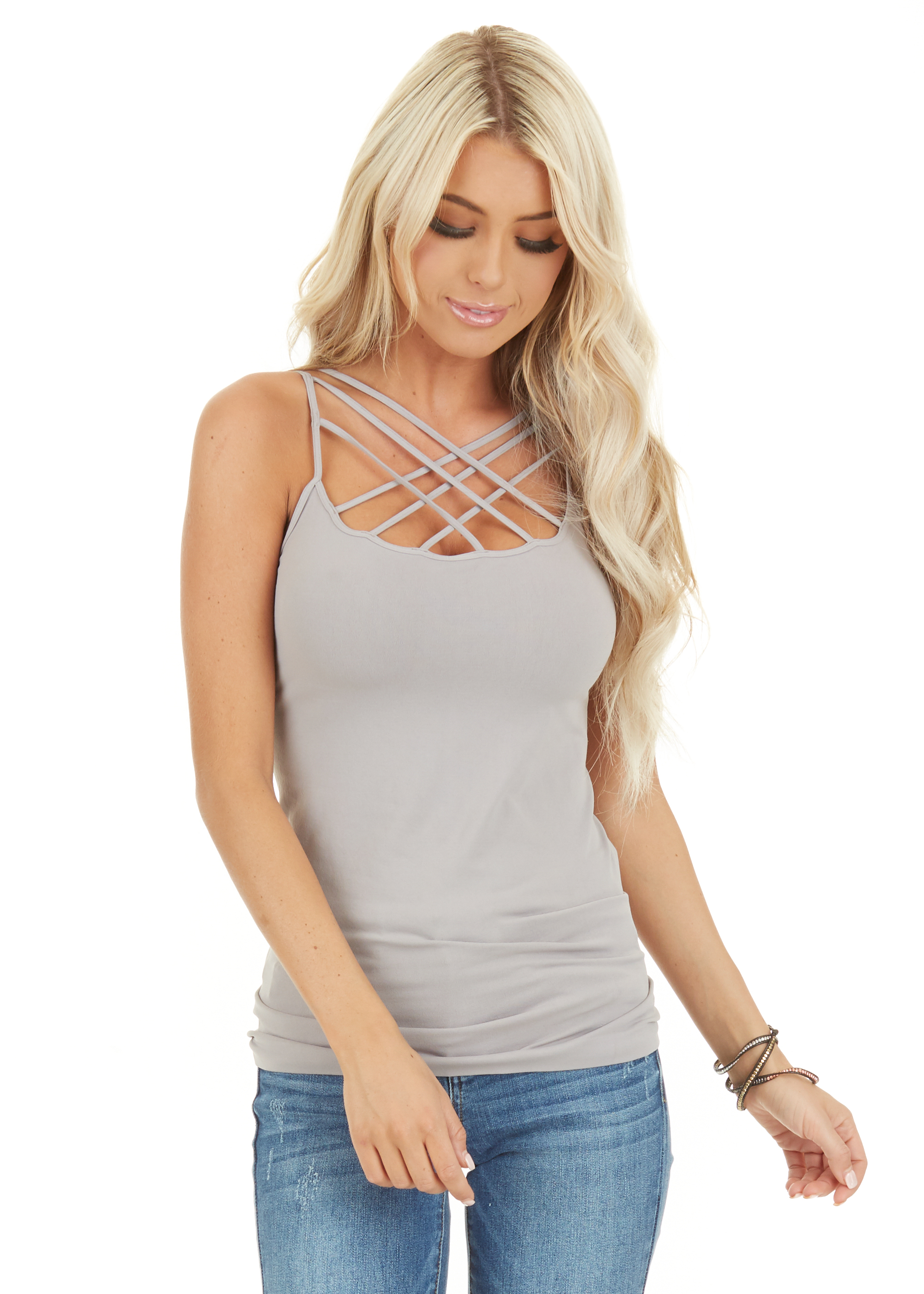 Cool Grey Criss Cross Strappy Camisole close