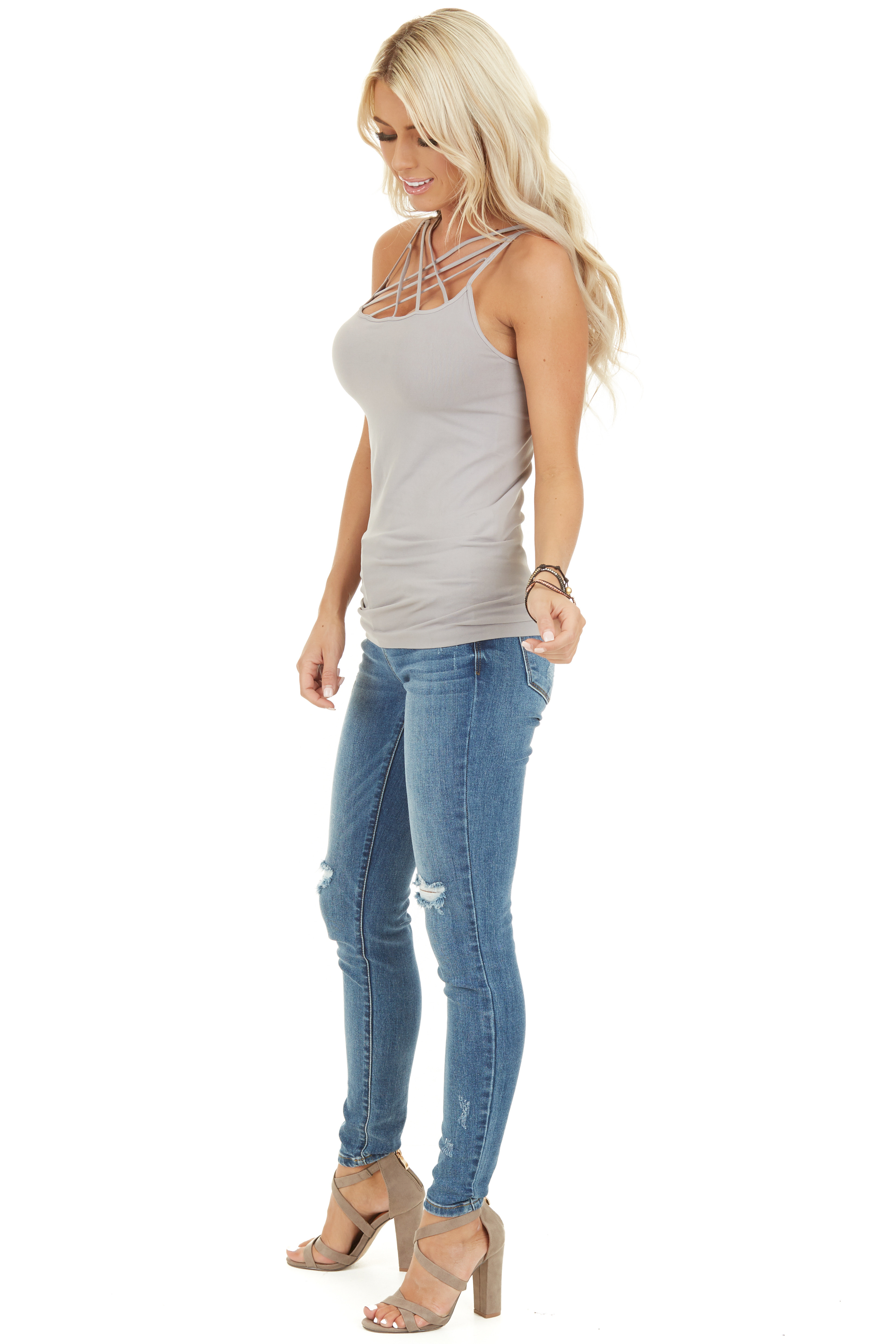Cool Grey Criss Cross Strappy Camisole side full body