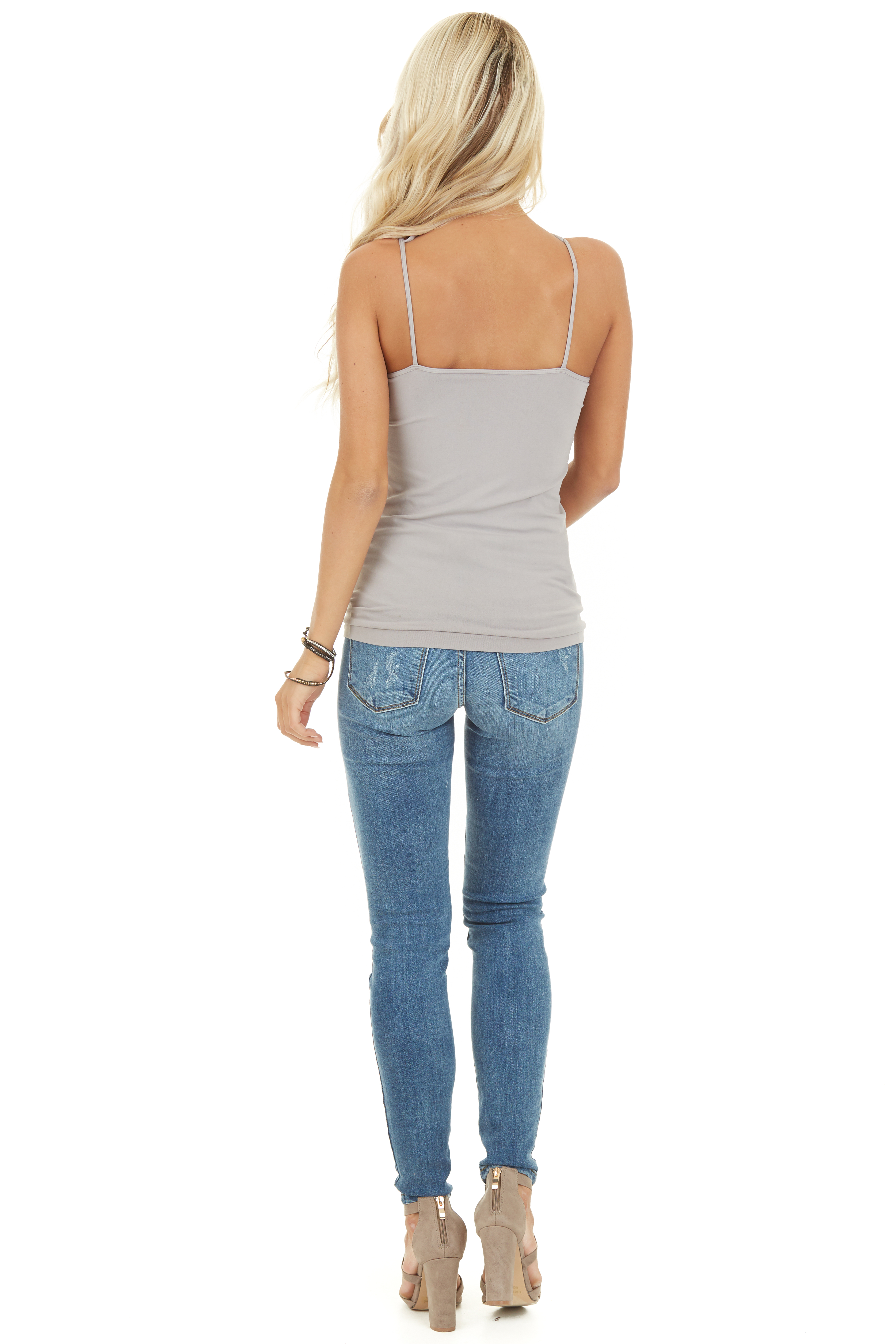 Cool Grey Criss Cross Strappy Camisole back full body