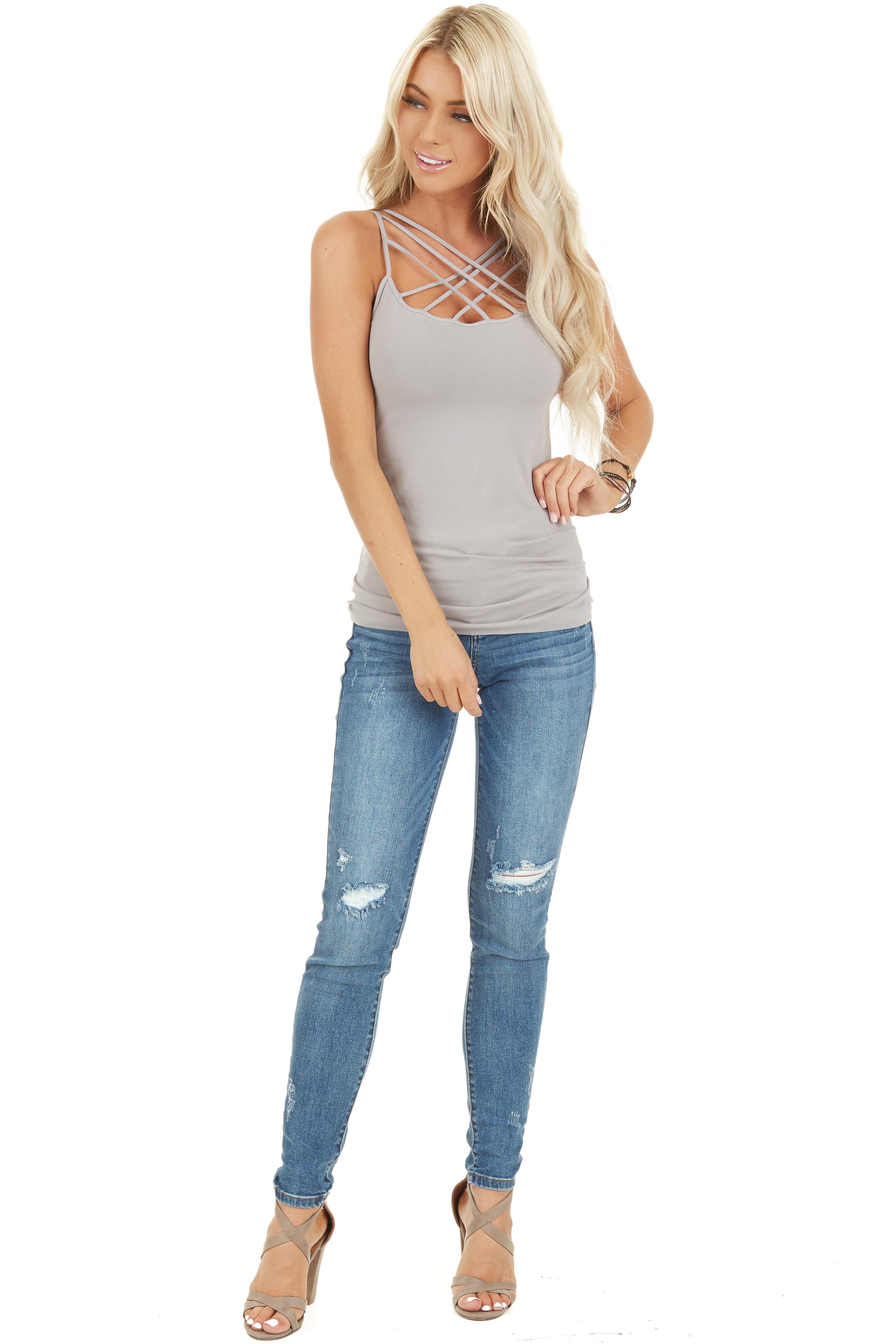 Cool Grey Criss Cross Strappy Camisole front full body