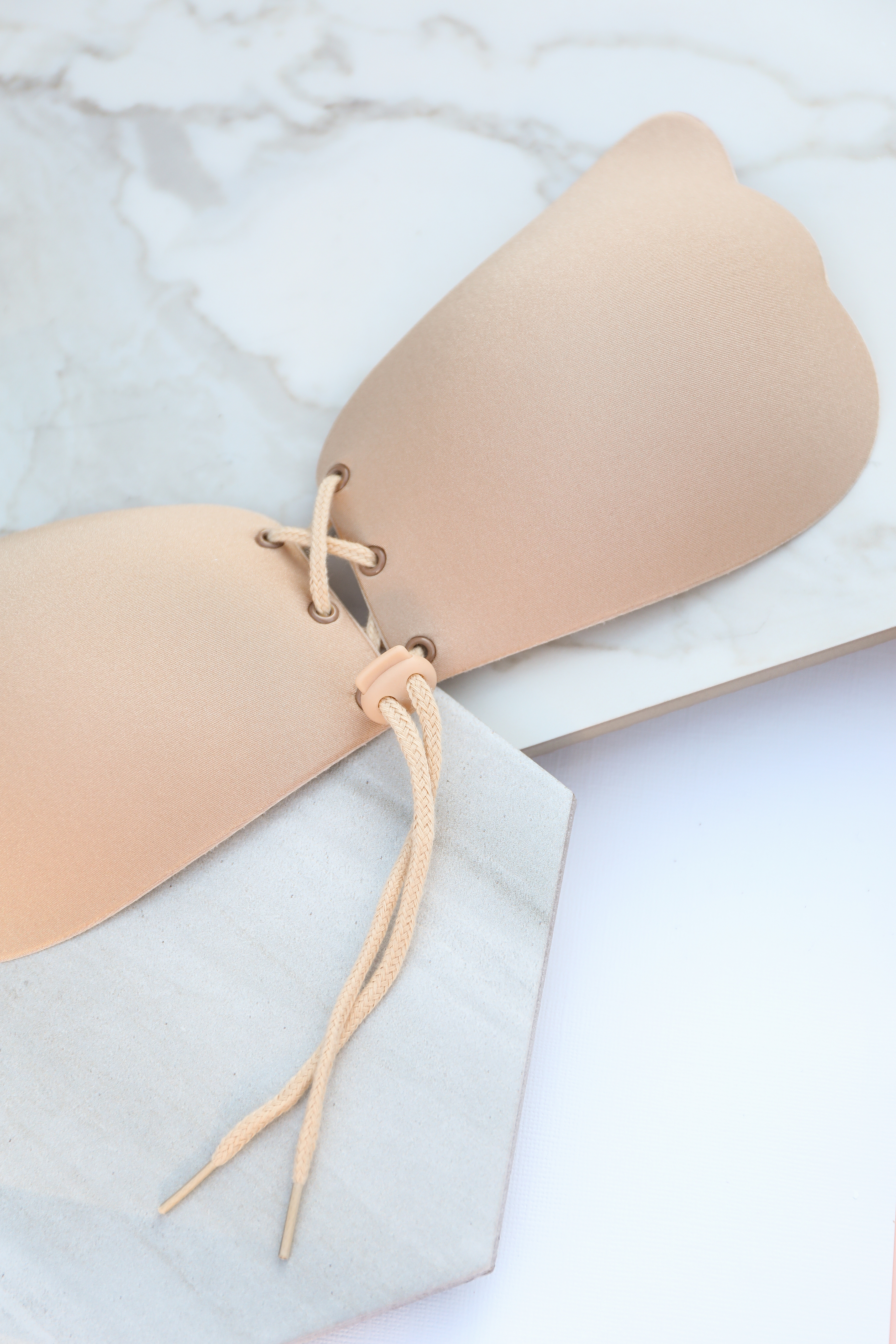 Beige Strapless Lace Up Adhesive Bra