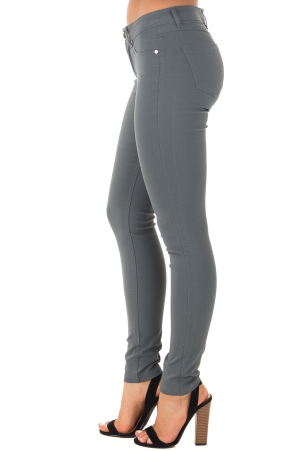 Charcoal Solid Colored Skinny Jeans side view