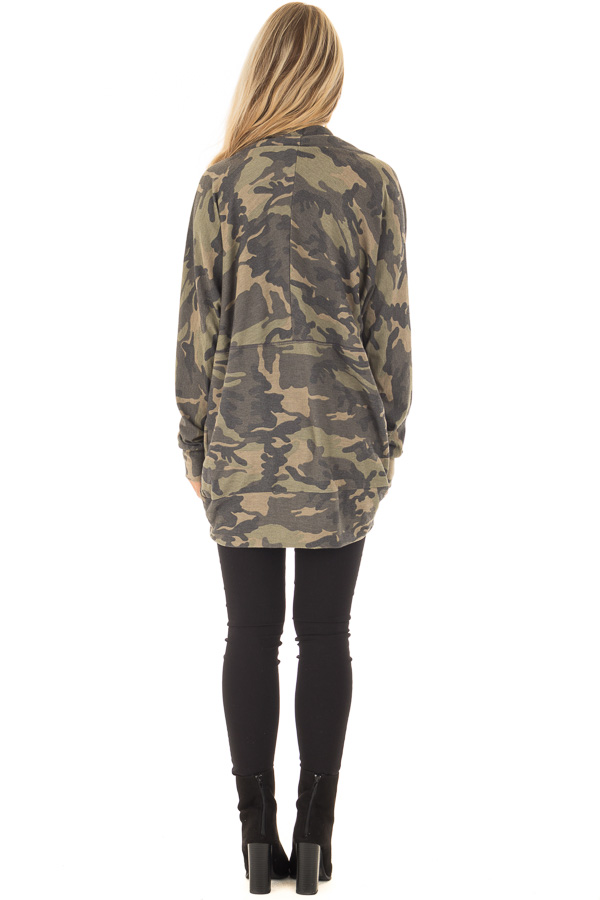 Camo Print Cardigan with Long Sleeves back full body