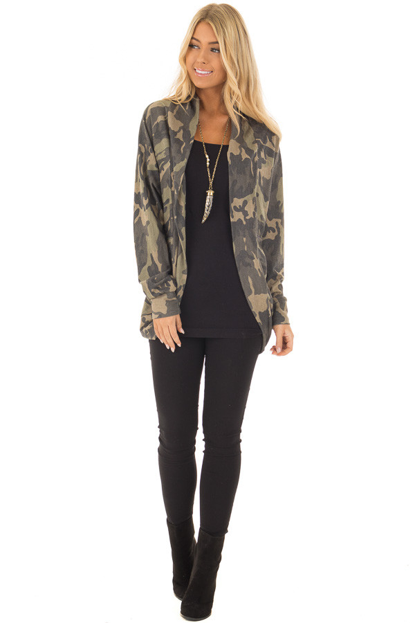 Camo Print Cardigan with Long Sleeves front full body
