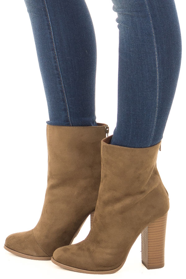 7e072cbaecc Mossy Bronze Faux Suede High Heeled Bootie - Lime Lush Boutique