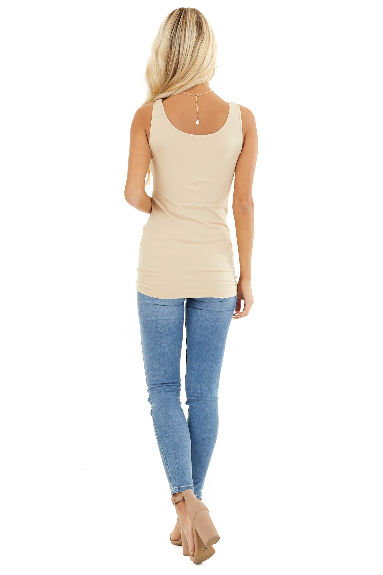 Stone Seamless Long Stretchy Tank Top back full body