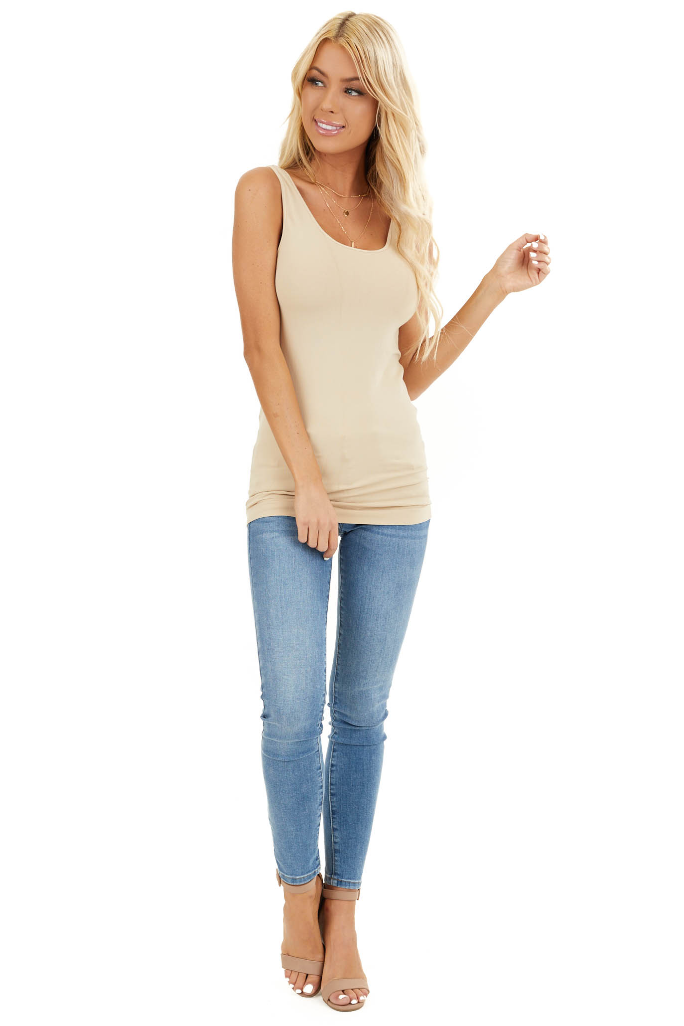 Stone Seamless Long Stretchy Tank Top front full body