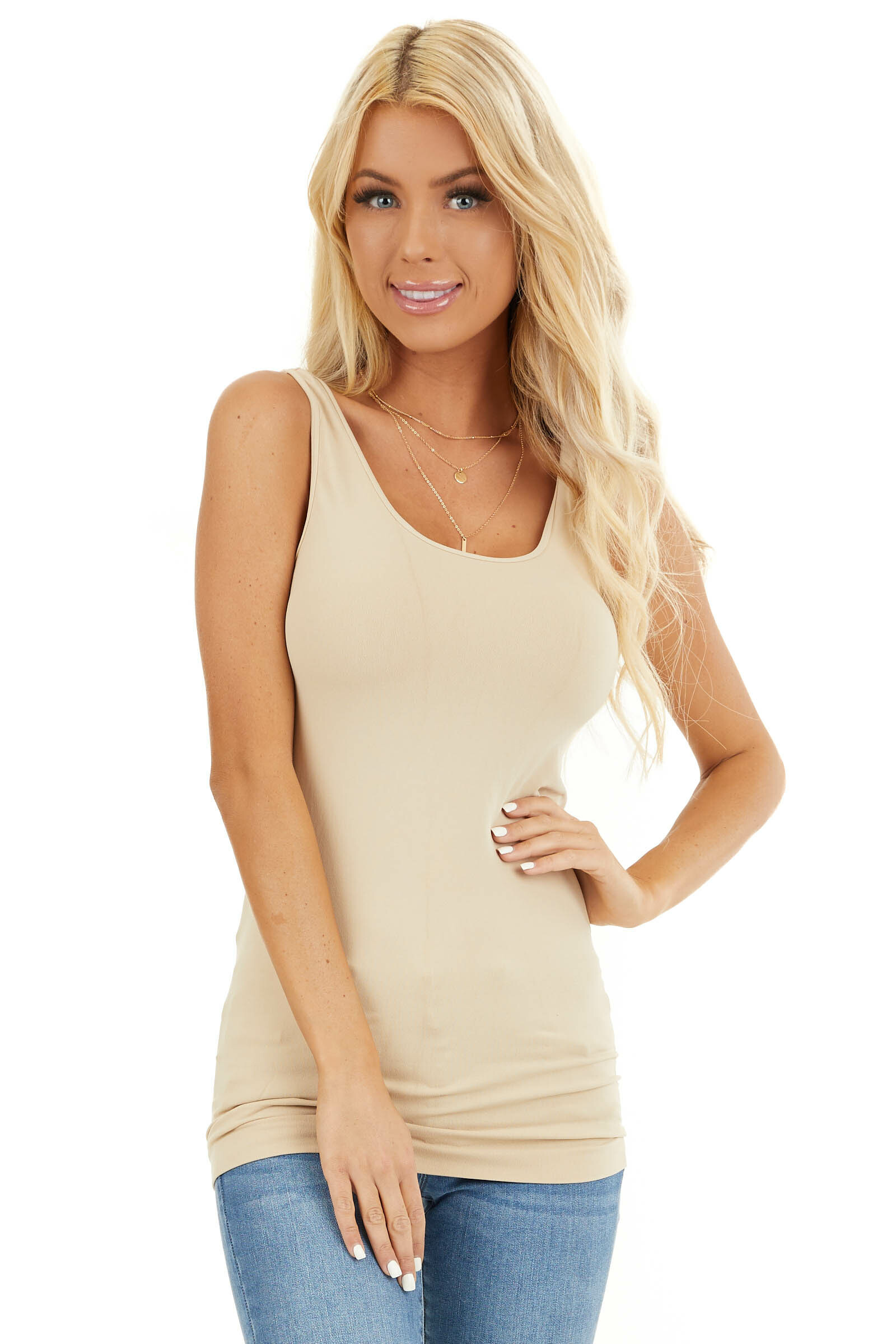 Stone Seamless Long Stretchy Tank Top front close up