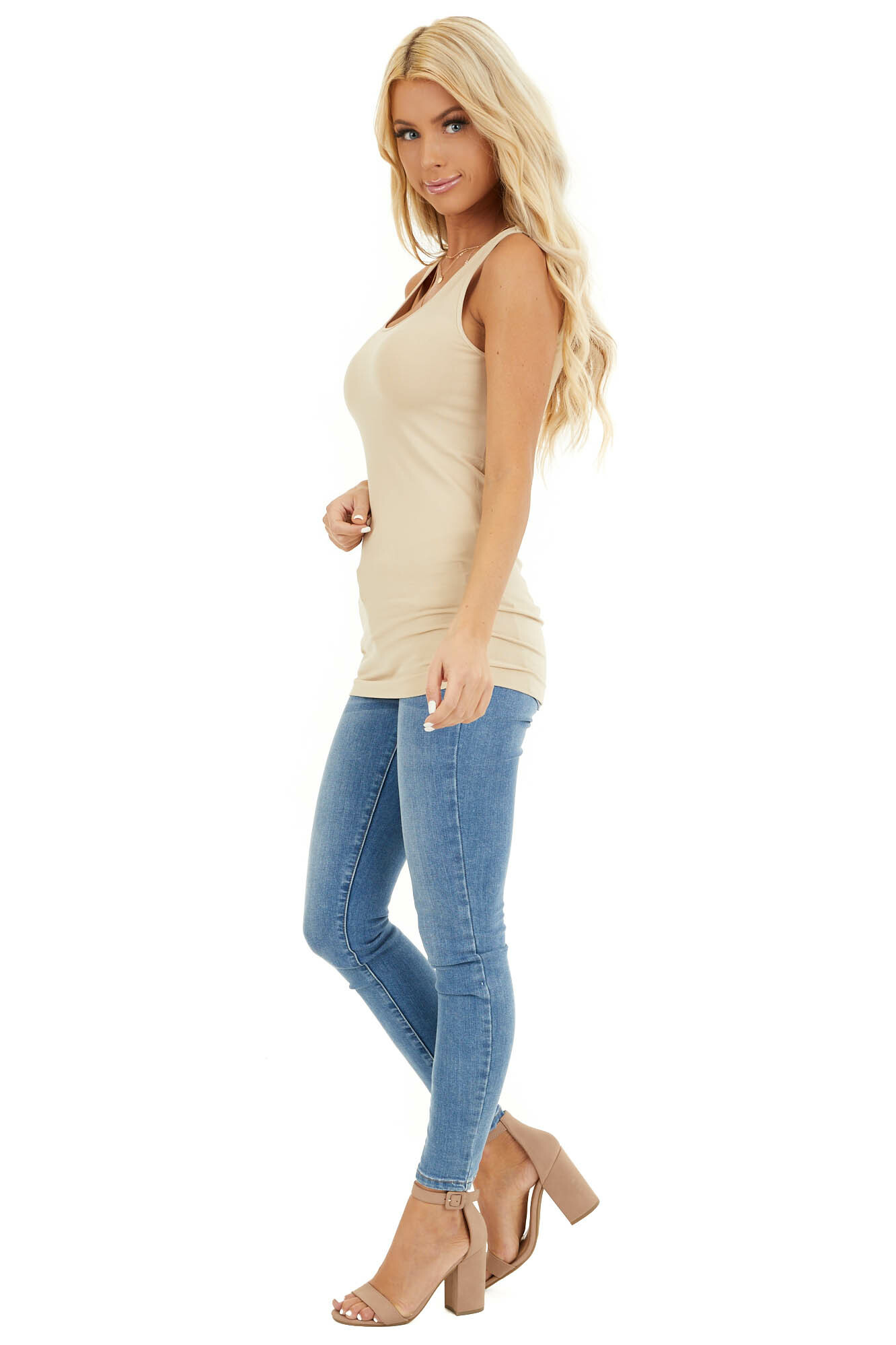Stone Seamless Long Stretchy Tank Top side full body
