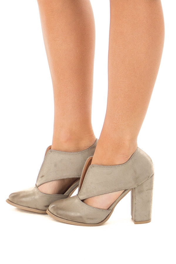 Light Grey Faux Leather Bootie with Cutout Details side