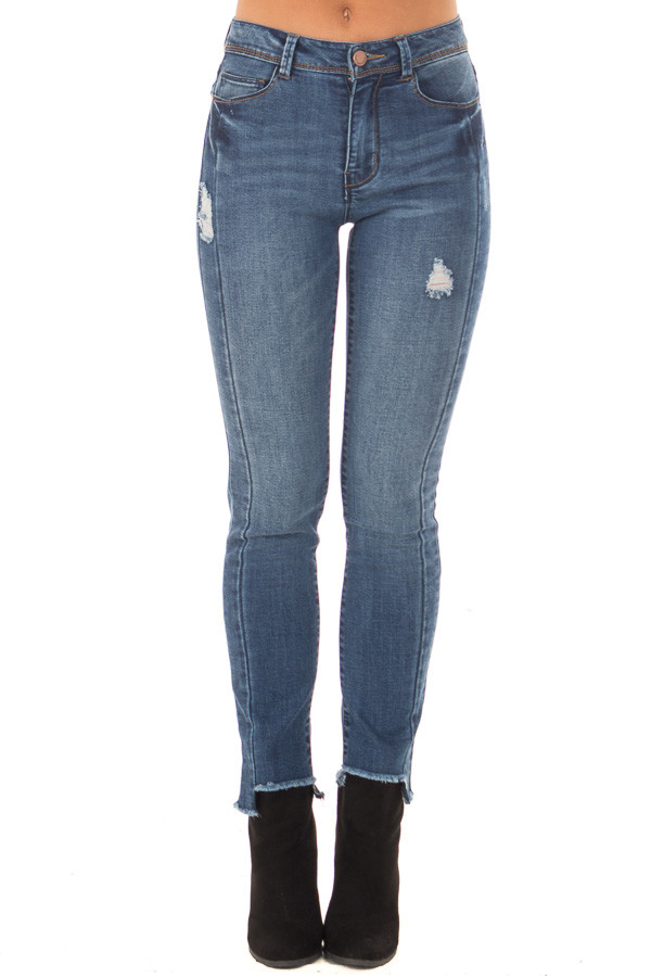 Dark Wash Denim Skinny Distressed Jeans with Uneven Hem front view