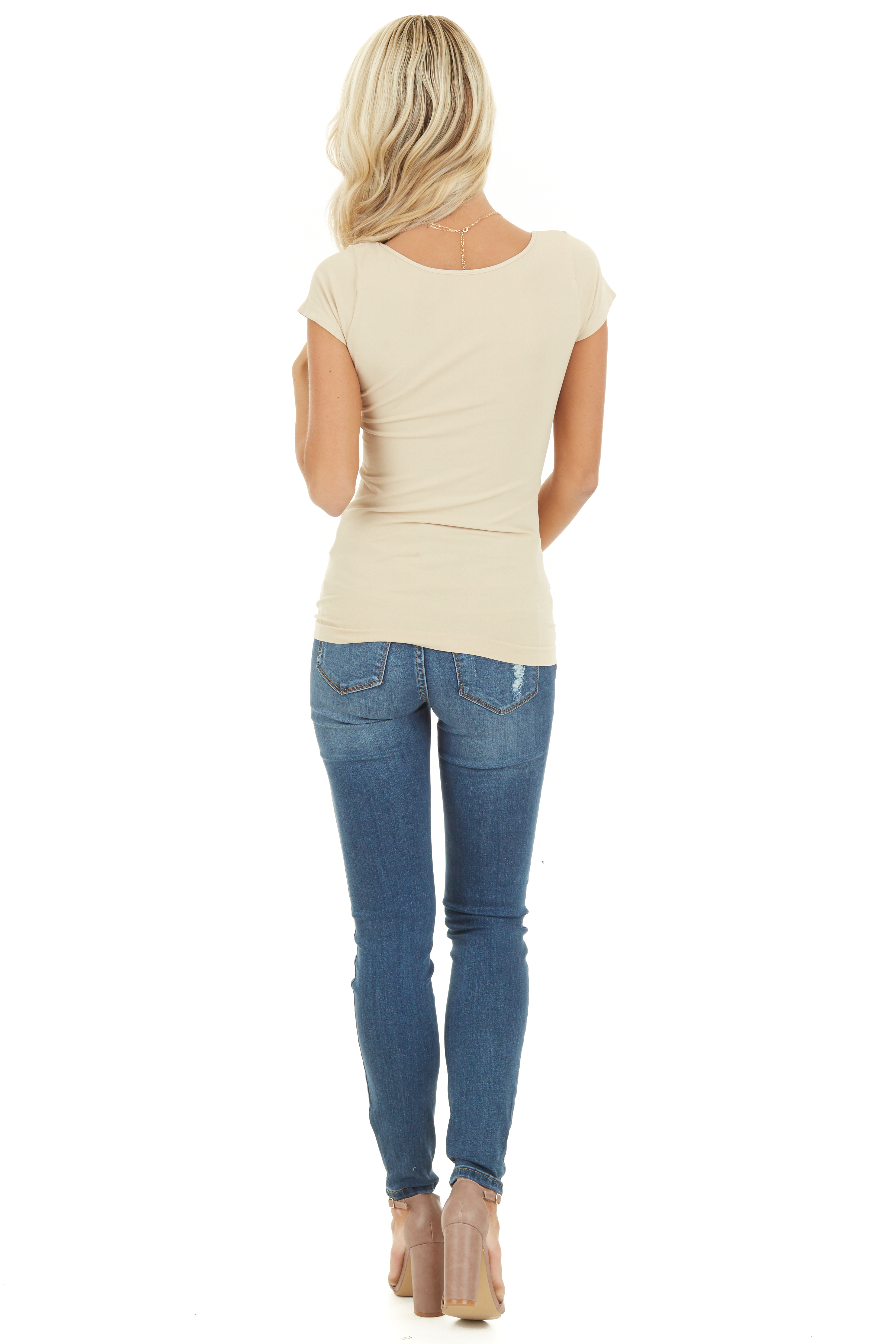 Nude Cap Sleeve Stretchy Scoop Neck Tee back full body