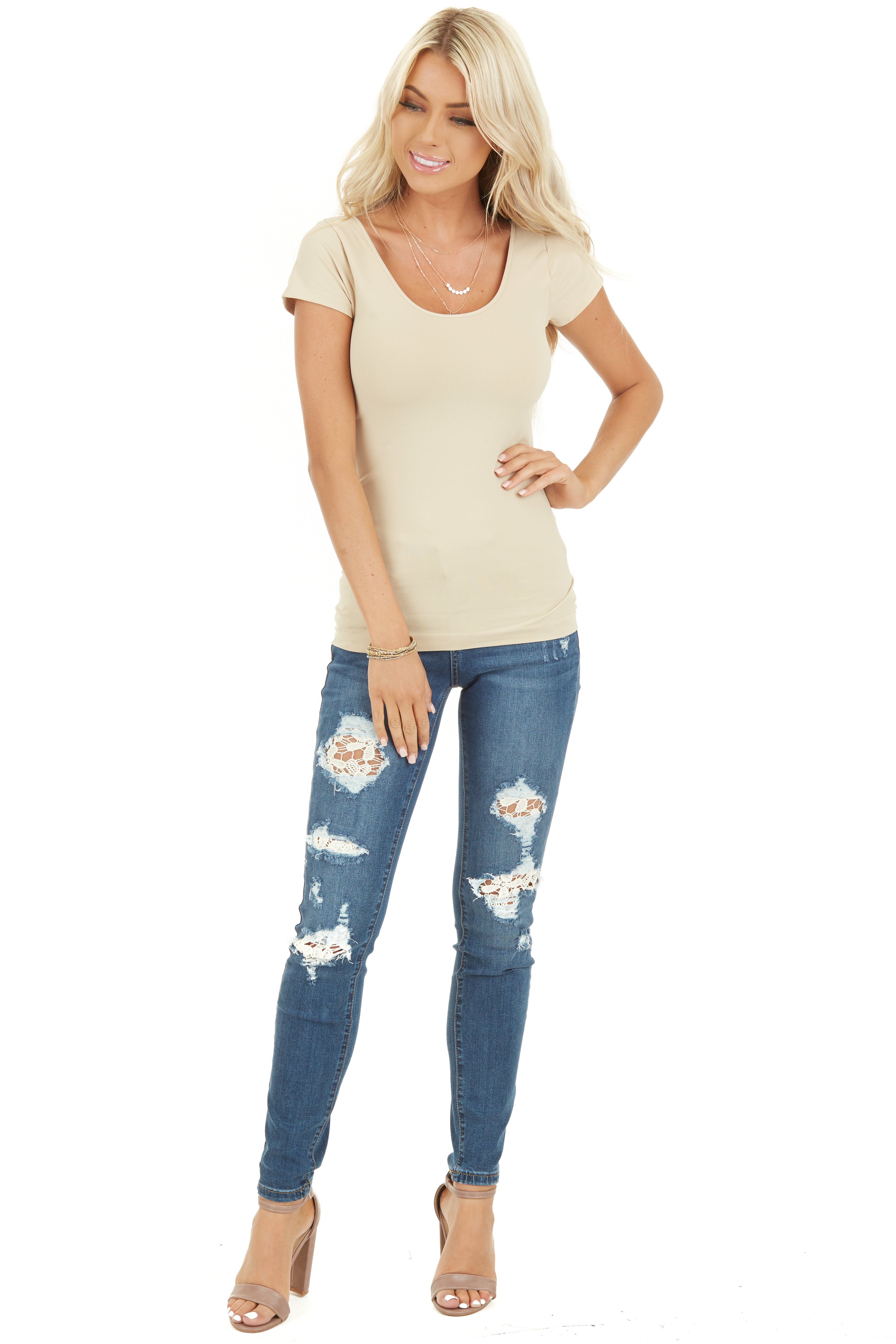 Nude Cap Sleeve Stretchy Scoop Neck Tee front full body