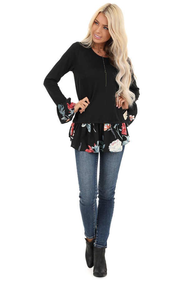 Black Top with Floral Print Contrast front full body