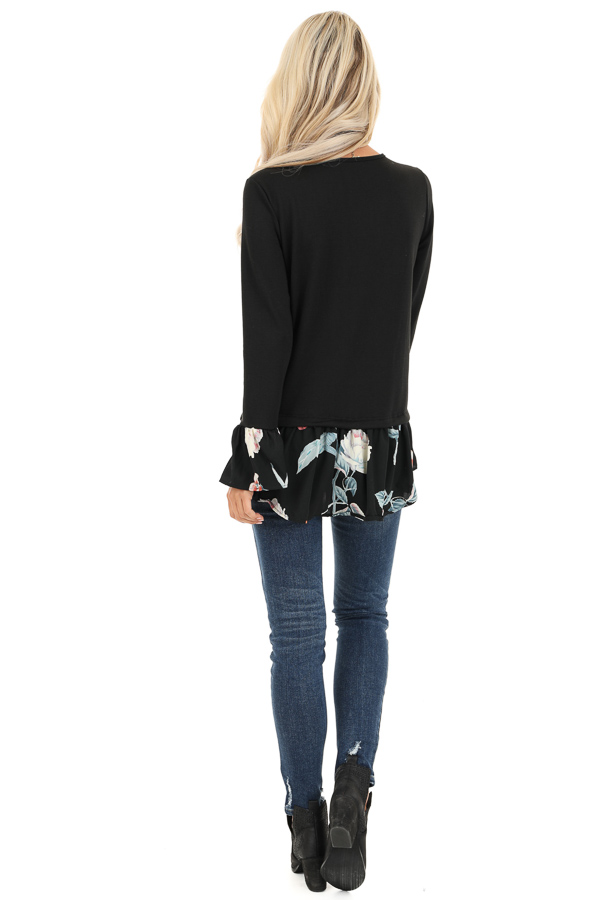 Black Top with Floral Print Contrast back full body