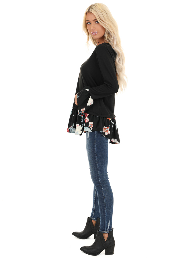 Black Top with Floral Print Contrast side full body