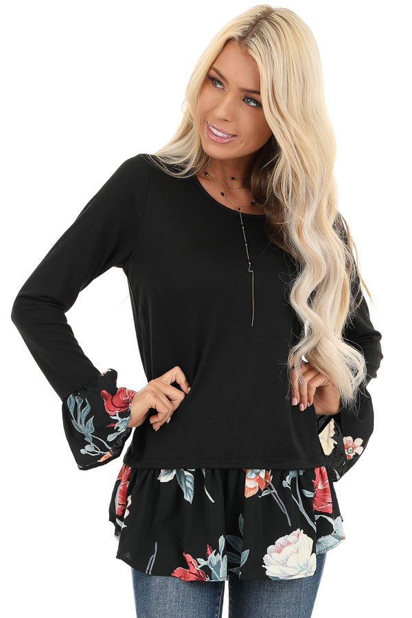 Black Top with Floral Print Contrast front close up