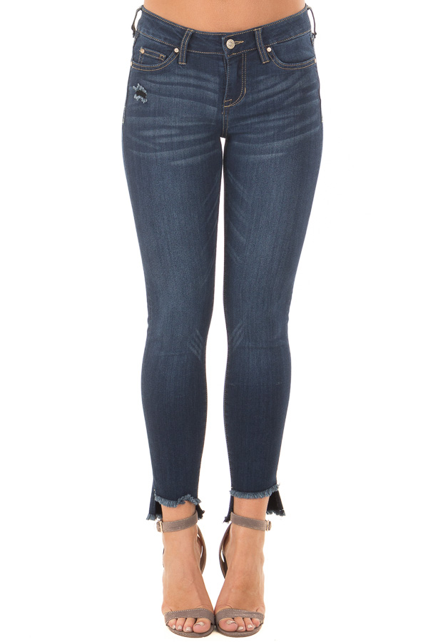 Dark Blue Denim with Frayed Hem and Distressed Details front view