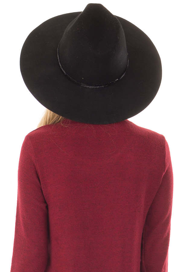 Black Wool Felt Hat with Black Beaded Detail back view