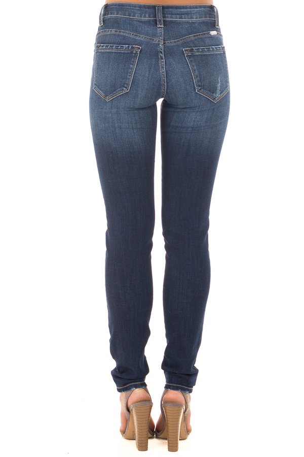 Dark Blue Skinny Jeans with Lightly Distressed Details back view