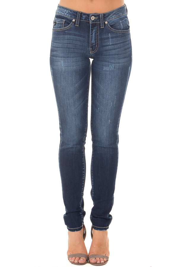 Dark Blue Skinny Jeans with Lightly Distressed Details front view