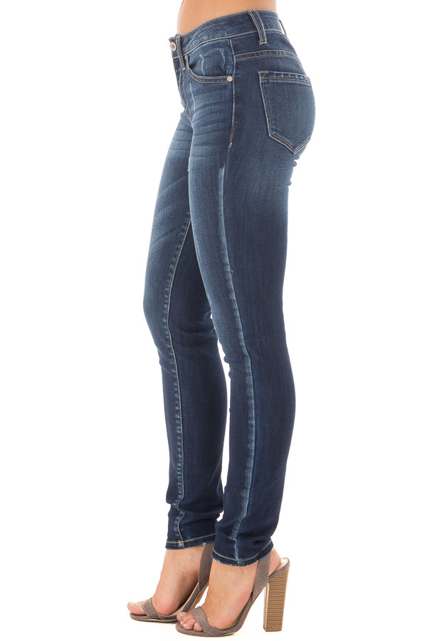 Dark Blue Skinny Jeans with Lightly Distressed Details side view