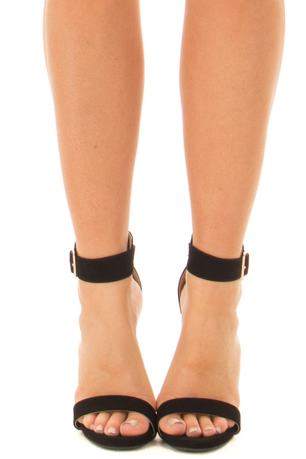 2a34f044b5 Black Faux Suede Stiletto Heels with Gold Buckle - Lime Lush Boutique