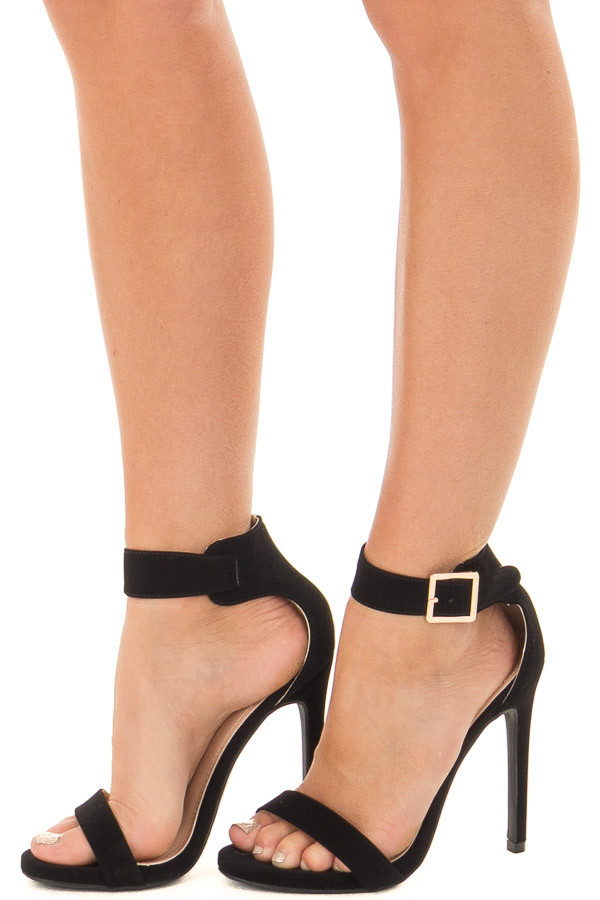 Black Faux Suede Stiletto Heels with Gold Buckle side view