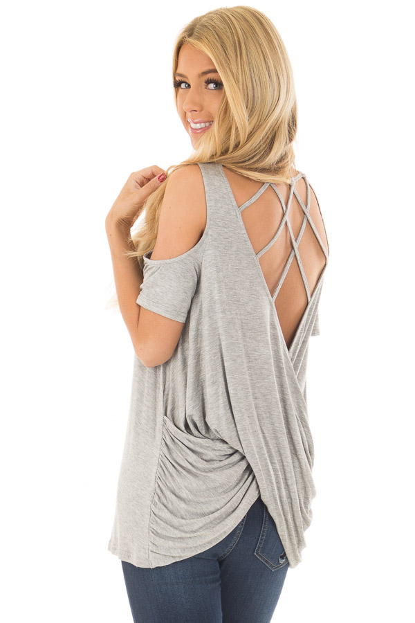 23187cb693b84c Heather Grey Cold Shoulder Top with Back Detail - Lime Lush Boutique