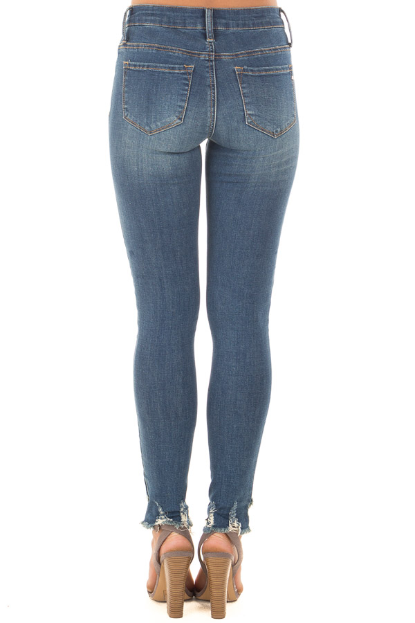 Medium Wash Lightly Distressed Stretchy Skinny Jeans back view