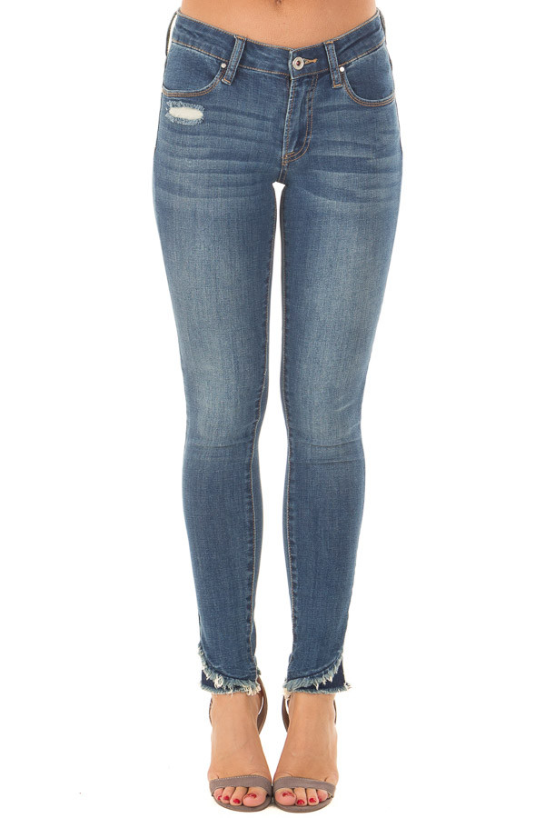 Medium Wash Lightly Distressed Stretchy Skinny Jeans front view