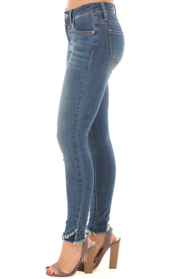 Medium Wash Lightly Distressed Stretchy Skinny Jeans side view
