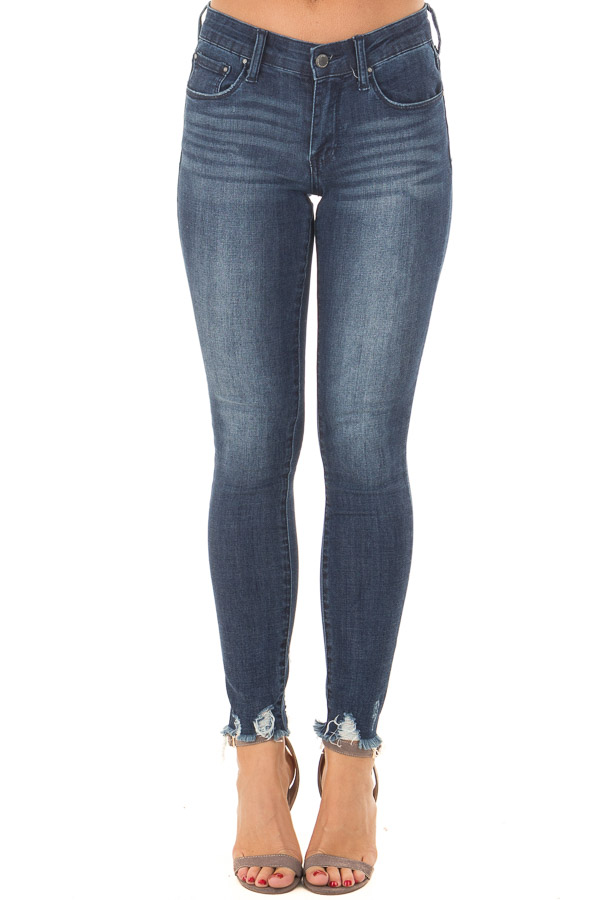 Dark Wash Stretchy Skinny Jeans with Lightly Distressed Hem front view