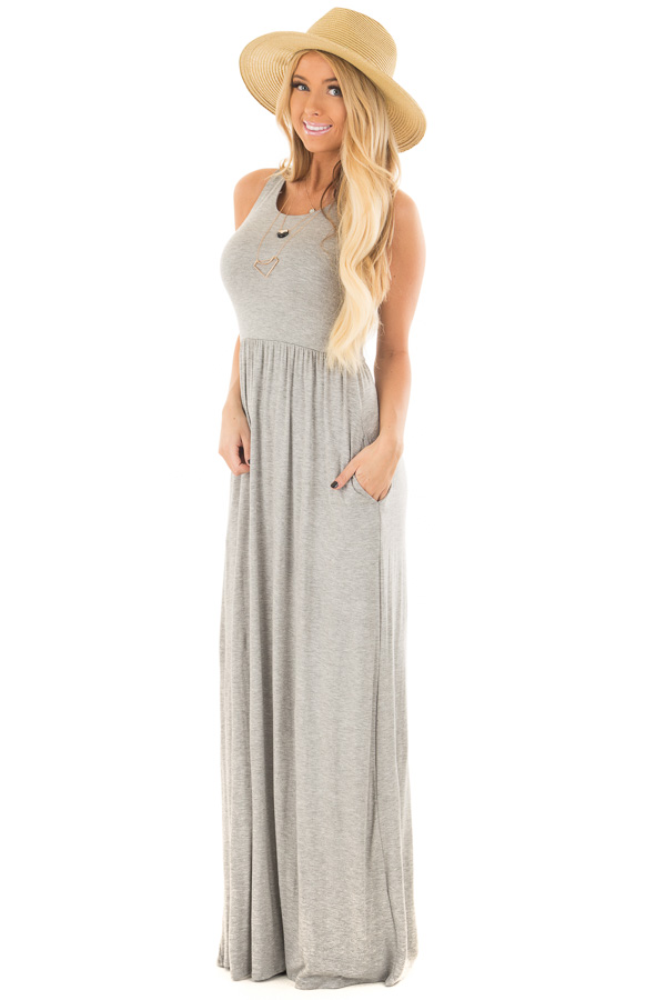 55eae69100 Heather Grey Racerback Tank Maxi Dress with Pockets - Lime Lush Boutique