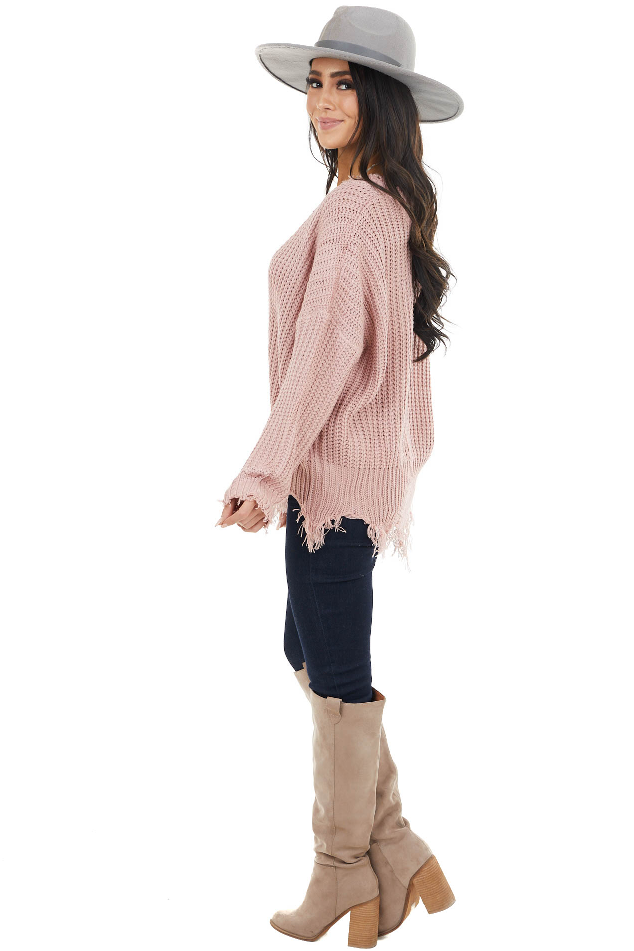 Mauve V Neck Sweater with Distressed Detail