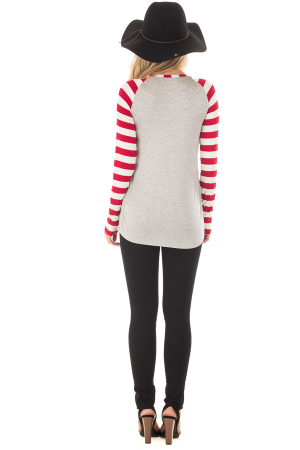 Heather Grey 'Be my valentine' Top with Striped Sleeves back full body