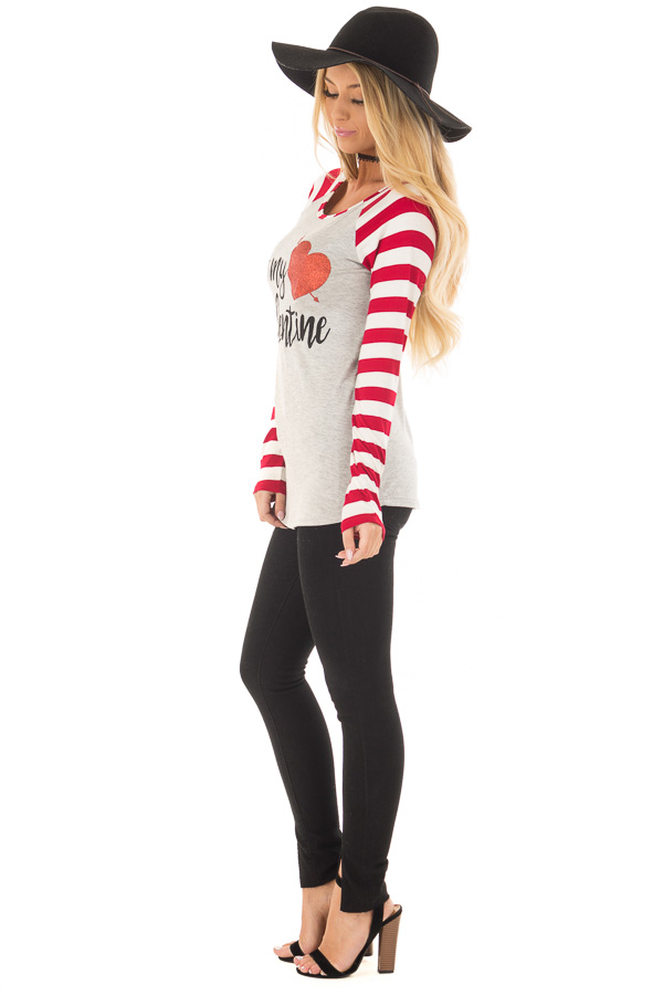 Heather Grey 'Be my valentine' Top with Striped Sleeves side full body